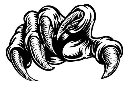 Monster claw hand talons in a vintage woodcut style.