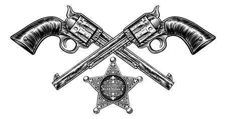 Een paar gekruiste pistoolhandpistolen en een sheriffster-insigne in een vintage geëtste gegraveerde stijl