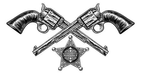 A pair of crossed pistol hand guns and sheriff star badge in a vintage etched engraved style