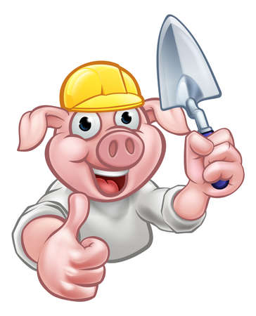 A builder pig cartoon character holding a brick layers trowel and wearing a hard hat. Could be the one of three little pigs who built his house of bricks.