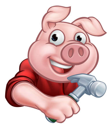 A builder or carpenter pig cartoon character holding a hammer. Could be the one of three little pigs who built his house of wood Illustration