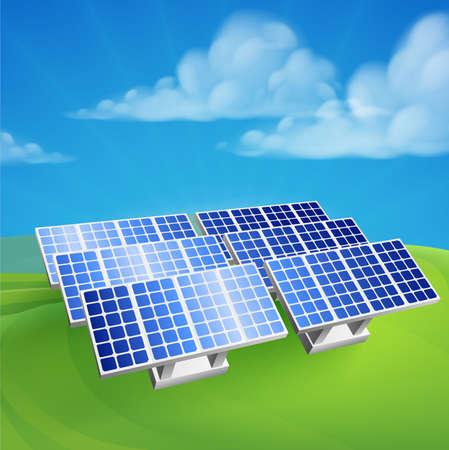 Ilustracja energii słonecznej energii fotowoltaicznej odnawialnej elektryczności farmy generującej komórki stacji