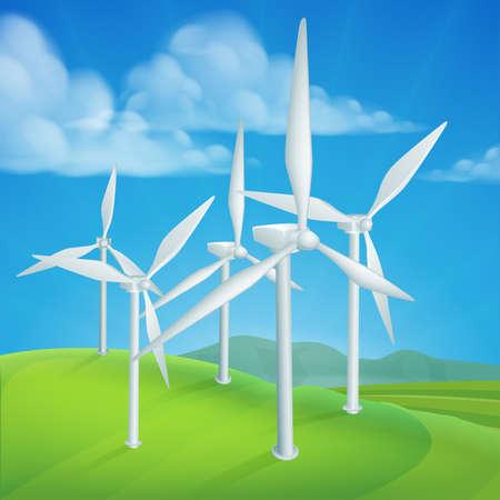 Windenergie of krachtturbines die hernieuwbare elektriciteit opwekken