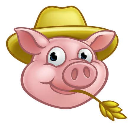 麦わら帽子と豚の漫画のキャラクター。三匹の子ぶたのわらの家を建てた人や農家ができます。