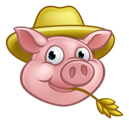 A pig cartoon character with straw hat. Could be a farmer or the one of three little pigs who built his house of straw
