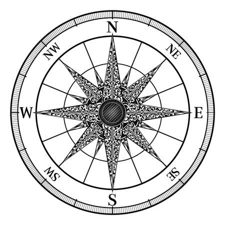 An original illustration of a map compass rose in a vintage retro woodcut style Ilustração