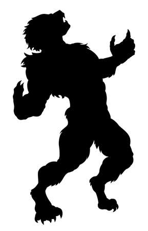 A werewolf in silhouette howling at the moon