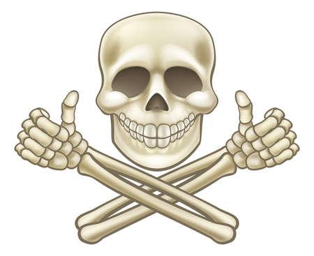 만화 두개골과 Crossbones 해적 엄지 손가락 최대.