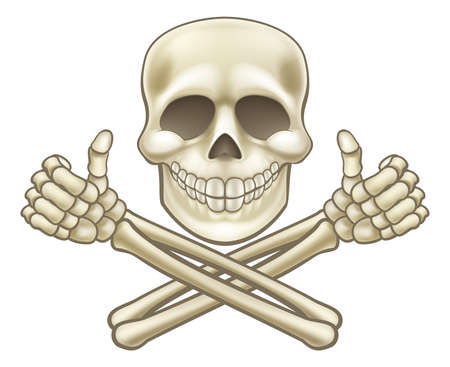 Cartoon Skull and Crossbones Pirate Thumbs Up.