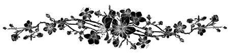 Elemento di disegno del modello di fiore del fiore di ciliegia della pesca.