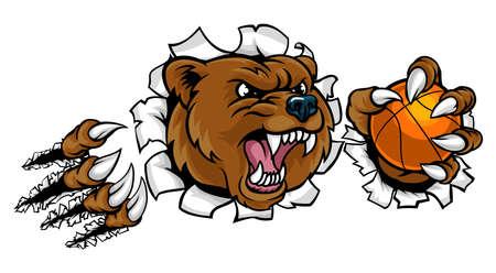 Bear holding basketball ball breaking background. Illustration