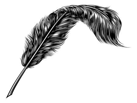 A vintage feather quill pen in retro woodcut line art style