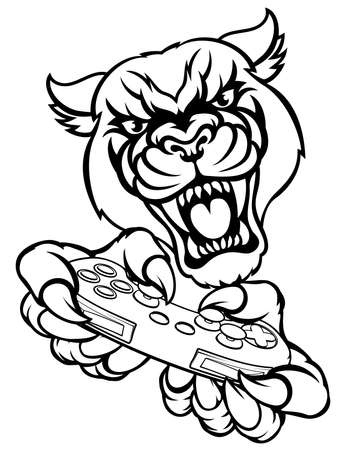 A panther video game player online gamer animal mascot holding a controller 일러스트