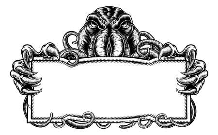 A Cthulhu style tentacled monster holding a sign in a vintage retro woodcut style