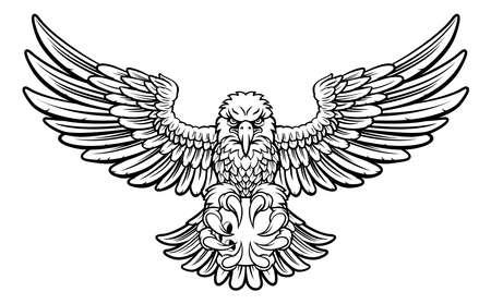 Angry eagle sports mascot holding a ten pin bowling ball.