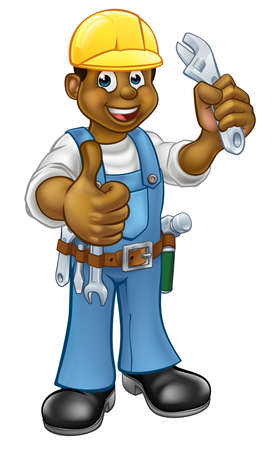 Handyman Mechanic or Plumber With Spanner Illustration