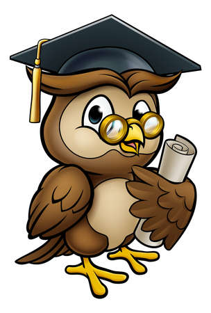 A wise owl cartoon character wearing a graduate cap mortar board and holding a diploma scroll
