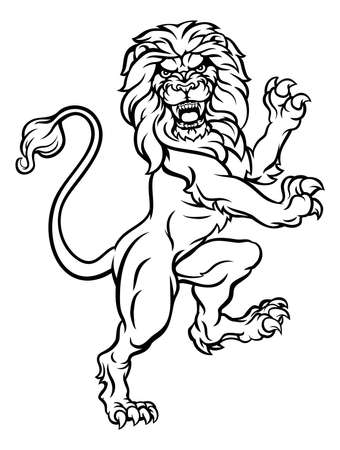 A lion rampant standing on hind legs from a coat of arms or heraldic crest Vektorové ilustrace