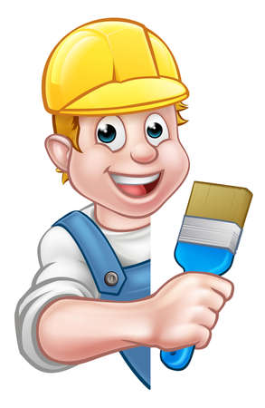A painter and decorator cartoon character holding a paintbrush tool and peeking around from behind a sign