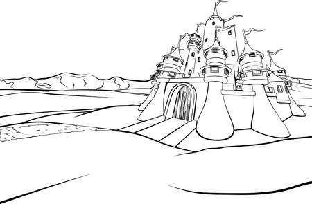 A cartoon fairytale fantasy castle background scene. Vectores