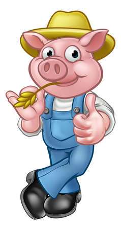 A pig cartoon character with straw hat giving thumbs up.