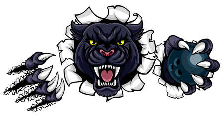 A black panther angry animal sports mascot holding a ten pin bowling ball and breaking through the background with its claws Illustration
