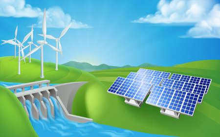 Energia odnawialna lub metody wytwarzania energii. Ilustracje wektorowe