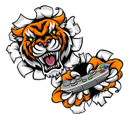 A Tiger angry animal esports video games player gamer mascot holding a controller and tearing through the background.