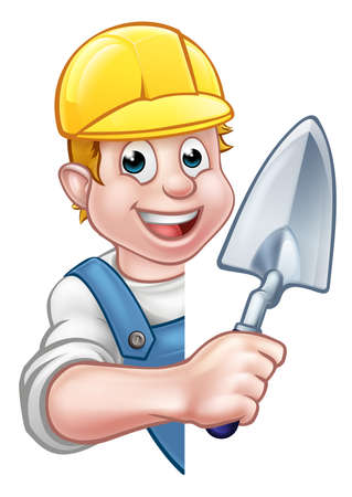 A cartoon builder or bricklayer construction worker holding a masons brick laying trowel hand tool, wearing a hard hat and peeking around sign.