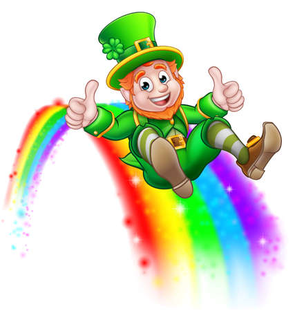 A cute St Patricks day leprechaun cartoon character sliding on rainbow and giving a thumbs up.
