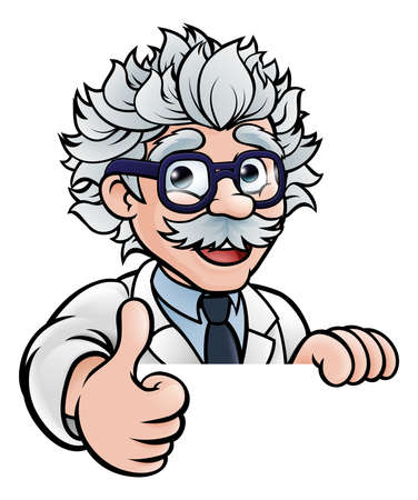 A cartoon scientist professor wearing lab white coat peeking above sign and giving a thumbs up