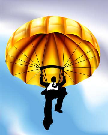 A golden parachute businessman conceptual business illustration