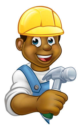 A carpenter or builder contractor holding a hammer hand tool and peeking around from behind a sign Illustration