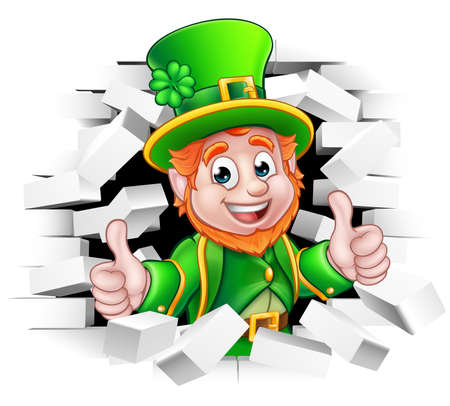 A cute St Patricks Day Leprechaun cartoon character breaking through the background brick wall and giving a thumbs up Vectores