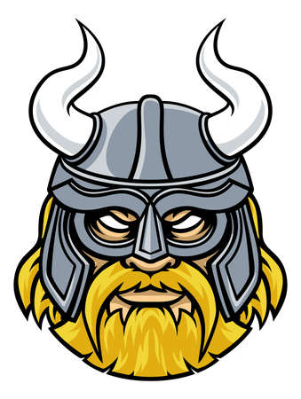 Viking warrior or gladiator sports mascot character wearing a helmet with horns