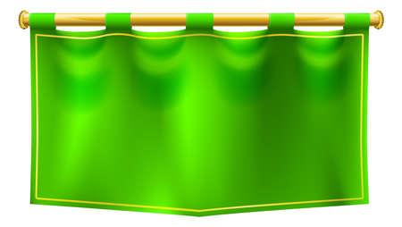 Medieval green royal banner flag illustration.