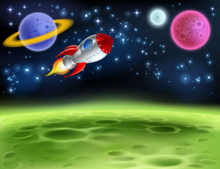 Outer space planet cartoon background illustration. Çizim