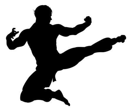 Karate Kung Fu flying kick man silhouette illustration. Illustration