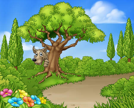 Big bad wolf from the three little pigs peeking from behind a tree.
