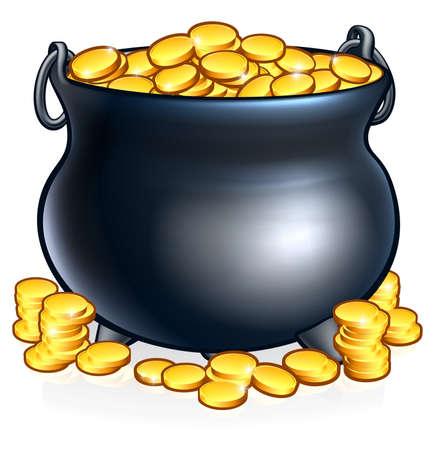 Pot of gold coins illustration for St. Patricks Day. Illustration