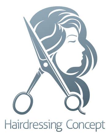 A hairdresser hair salon woman scissors sign symbol concept Illustration