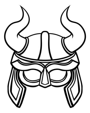 une illustration d & # 39 ; un viking guerrier ou casque gladiator avec des cornes