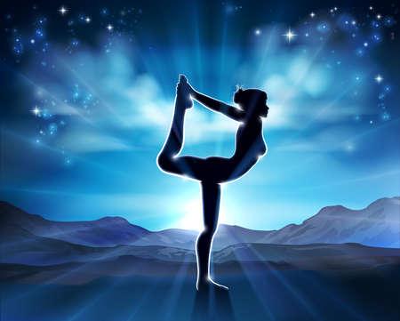 Woman Yoga Pilates Pose Silhouette Background Illustration