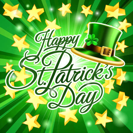 Happy St Patricks Day Leprechaun Hat Background