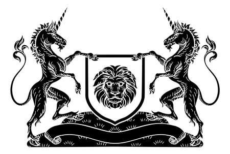 Coat of Arms Emblem Crest Unicorn Shield Heraldic Stock Photo