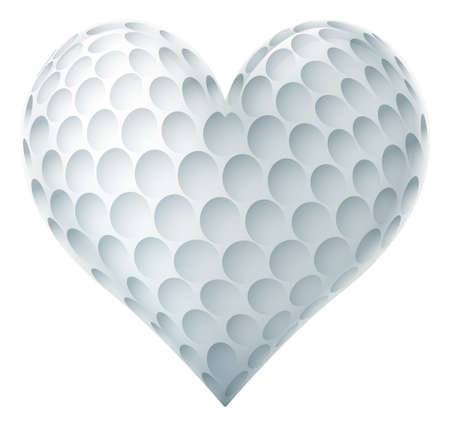 A golf ball in a heart shape. Concept for passion or love of the sport. Stock Illustratie