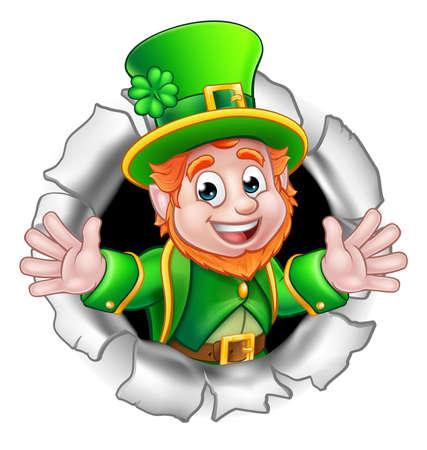 A cute St Patricks Day Leprechaun cartoon character breaking through the background.