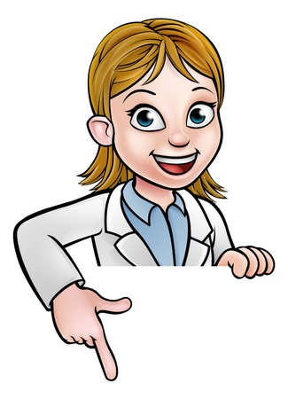 A cartoon scientist professor wearing lab white coat peeking above sign and pointing at it.