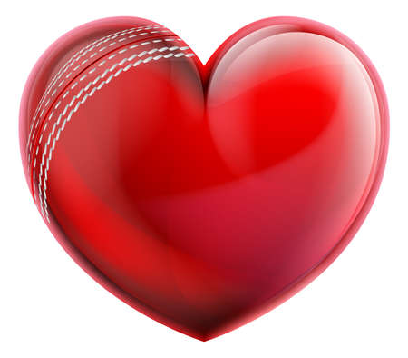 A heart shaped cricket ball. Concept for passion or love of sports. Stock Illustratie