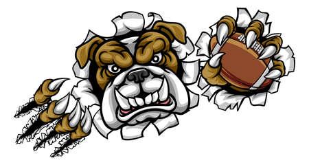 Una mascota enojada de bulldog se divierte a los animales sosteniendo una pelota de fútbol americano y rompiendo el fondo con sus garras. Ilustración de vector